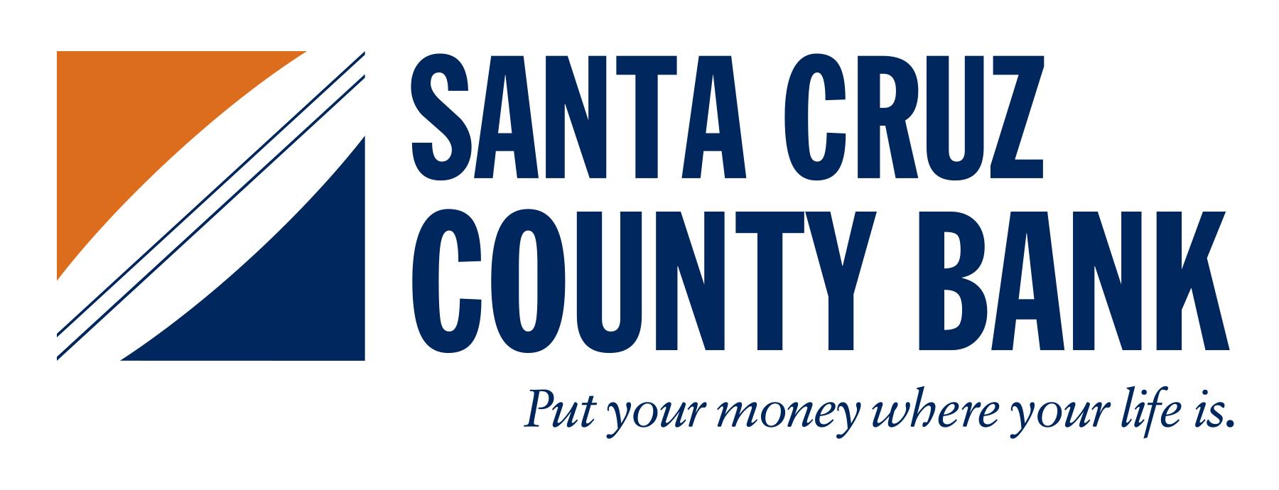 Enlace del logotipo al sitio web del Banco del Condado de Santa Cruz. Lema del logotipo: pon tu dinero donde está tu vida.